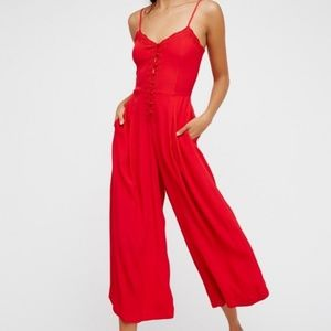 NWOT Free People Eileen Romper in Red
